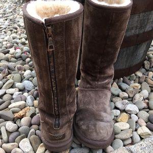 🌿UGG Rare Brown Tall Zip Boots w/ Metal Hardware